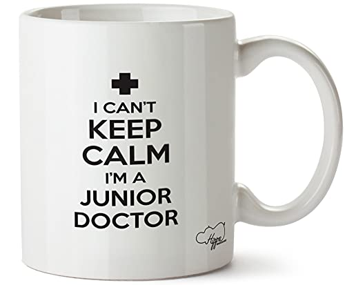 Taza de cerámica impresa con texto 'I Can't Keep Calm I'm a Junior Doctor'