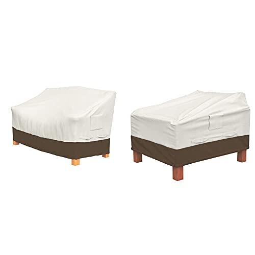 Amazon Basics Lot de 2 Housses pour fauteuils Lounge à Assise Profonde & Housse de Protection pour Banc 2 Places