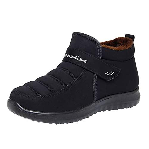 QIUTIANQ Botas De Nieve Cómodas Y Cálidas De Invierno para Mujer, Zapatos De Algodón Deportivos Impermeables Al Aire Libre,Calzado Casuales Sin Cordones Planos con Punta Redonda (Negro, 37)
