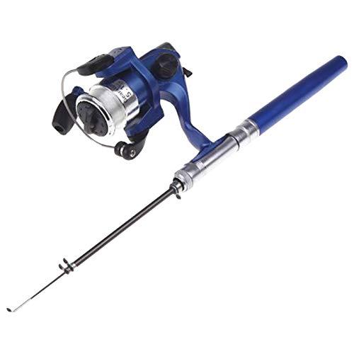 Lixada Mini Caña de Pesca Similar Bolígrafo de Aluminio Tamaño de Bolsillo Carrete de Pesca Incluido (Azul)