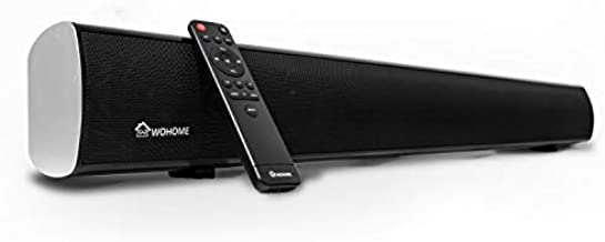 Soundbar, Wohome TV Sound Bar with Built-in Subwoofers and Bluetooth(3-Inch Drivers, Remote Control, Wall Mountable, Support Optical AUX Coaxial USB, 60W, 34-Inch, Model S10)