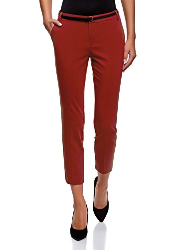oodji Collection Donna Pantaloni Cropped con Cintura, Rosso, DE 42 / EU 44 / XL
