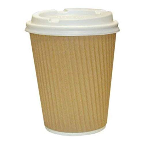 We Can Source It Ltd - 12oz. Brown Kraft Ripple Paper Cups with Lids - Eco-Friendly 100% Biodegradable Compostable Recyclable - Great for Tea, Coffee, Hot Drinks Takeaway - 50 Pack