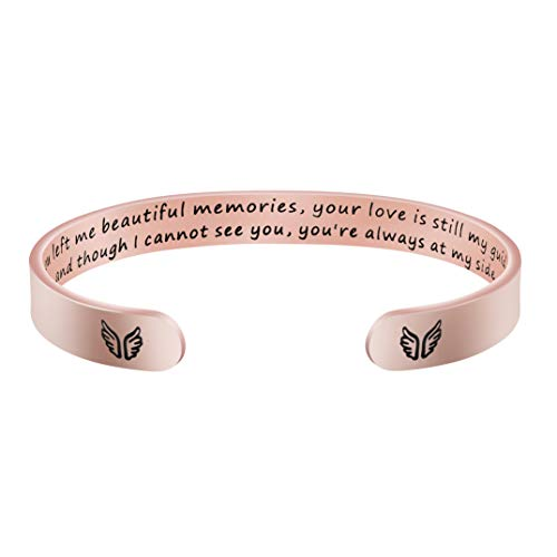Inspirational Rose Gold Bracelet Memorial Gift for Her Motivating Jewelry You Left me Beautiful Memories Your Love is Still My Guide... Rose Gold Bracelet