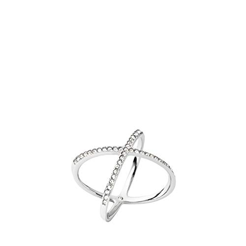 Michael Kors Pave X Silver Ring, Size 8