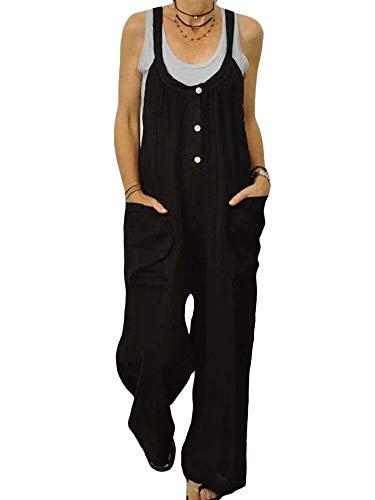 ORANDESIGN Damen-Latzhose aus Leinen, lockere Passform, Haremshose, Casual Vintage Jumpsuit, große Größe, Sommerlatzhose Gr. 42, E schwarz