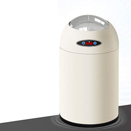 ZHANGJINYISHOP2016 Trash Garbage Can Automatic Touch Free Garbage Can with Lid Waste Bin,Kitchen Trash Can for Bathroom Bedroom Home Office,6L,8L,12L(Round,White) Trash Can Waste Bin (Size : 8L)