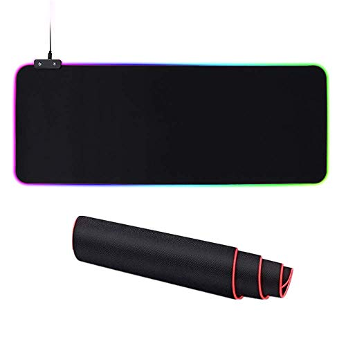 RGB Soft Gaming Mouse Pad, Larger & Thicker, Oversized Glowing Led Extended Keyboard Mat (14 Lighting Modes), Non-Slip Rubber Base, with Extended USB Cable, Black, 31.5X11.8X0.16 Inch