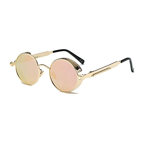 VeBrellen Rotondi Occhiali da Sole da Uomo Retro Stile Steampunk UV400 Goth Vintage Per uomini e donne (Gold Frame With Pink Lens)