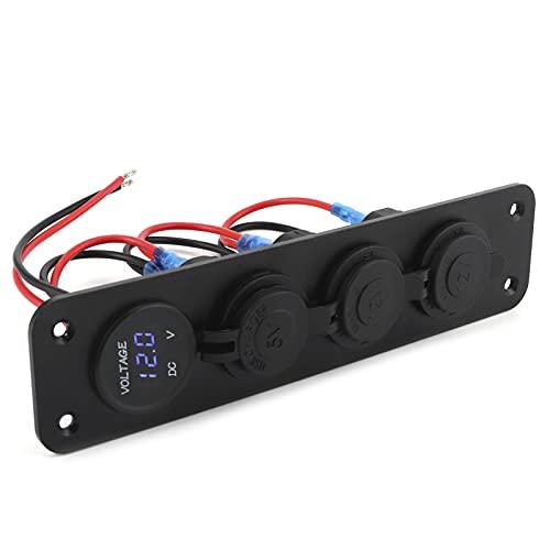 BHDK Enchufe USB para Coche, iluminación Colorida, Estable y fiable, Puertos USB Dobles, Salida de Cargador de Corriente de 12 V, Carcasa Negra con 4 Tornillos para vehículos, vehículos