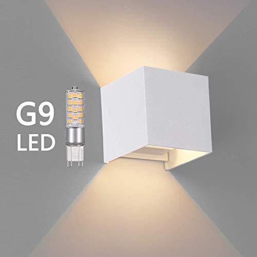 OOWOLF LED Lampada da Parete Esterna di G9 Sostituibile in Alluminio, Applique Moderna IP65 Impermeabile, 3000K Bianco Caldo per Interno ed Esterno, Bagno, Soggiorno, Cucina, Giardino (Bianca)