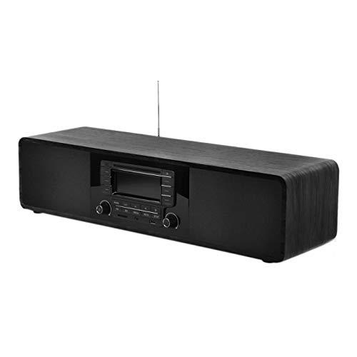 Compact CD/MP3 Player Stereo Wooden Desktop Bluetooth Hi-Fi Speaker Portable Boombox Home Audio Component Music Shelf System with FM Radio Digital Tuner Remote Control USB SD AUX,Soundbar