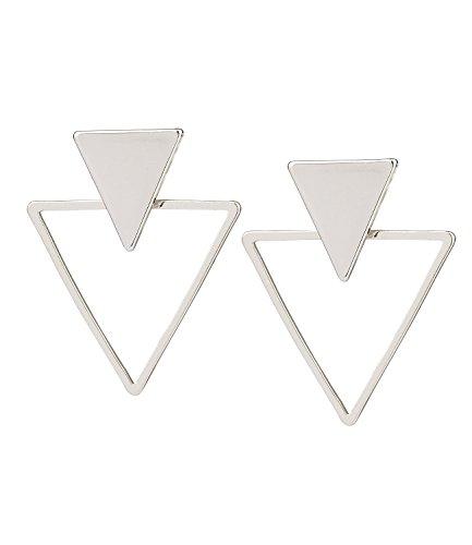 SIX 1 pieza de joyería para oídos, pendientes geométricos, triángulo de plata, parte trasera delantera (100-775)