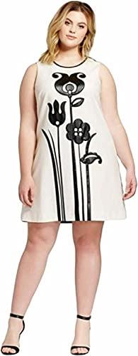 Victoria Beckham Women's Black and White Mod Shift Tulip Applique Dress (1X)