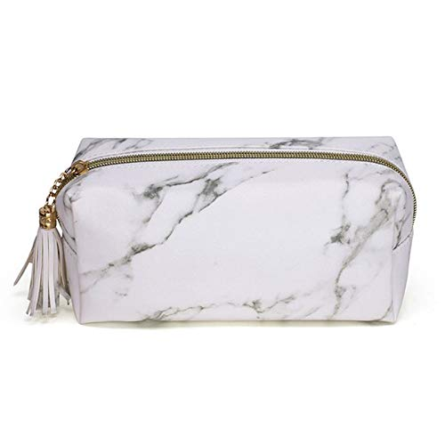 BASSK Marble Zipper Tassel Purse Travel Makeup Cosmetic Bag Toiletry Pencil Case Stationery Organizer