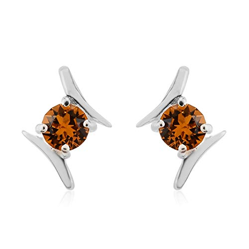 J Francis Stud Earrings Made with Swarovski Yellow Crystal for Women in 925 Sterling Silver Christmas/New Year Gift for Her, TCW 1ct