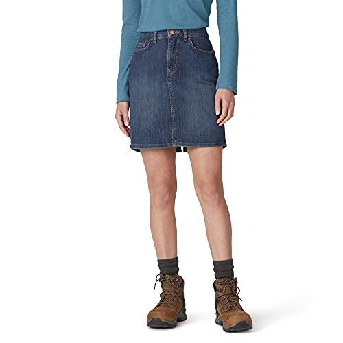 Dickies Women's Perfect Shape Denim Skirt, Stonewashed Indigo Blue, 2