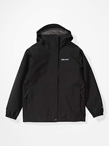 Marmot Enfants Kid's Minimalist Jacket, Veste imperméable en Gore-Tex, Veste de pluie à capuche légère, Manteau de pluie coupe-vent, Coupe-vent respirant, Idéale pour les loisirs, Black, L