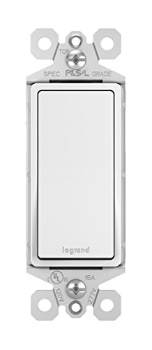 Legrand radiant 15 Amp 15 Amp Rocker Wall Switch, Decorator Light Switches, White, Single Pole, TM870WCC10