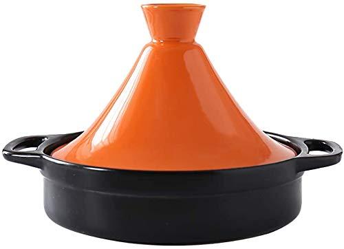 Keramik-Auflauf Marokkanischer Tajine-Topf Mit Deckel, Dampfgarer-Pfanne Gesundes Kochgeschirr Irdener Topf Zum Schmoren Langsames Kochen(Color:Orange,Size:1.3Quart)