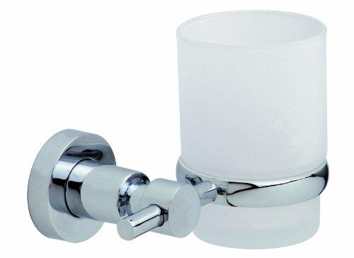 Nie Wieder Bohren Loxx Zahnbürstenhalter, verchromter Edelstahl, satiniertes Glas, inkl. Klebelösung, hält bis 6kg, 95mm x 130mm x 100mm