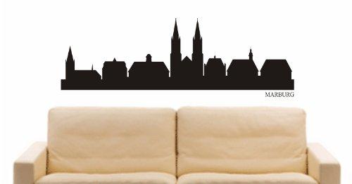 INDIGOS UG - Wandtattoo Wandsticker Wandaufkleber Aufkleber - Wandaufkleber e834 Skyline Stadt - Marburg (Deutschland) Design 2-40x13 cm - schwarz - Dekoration Küche Bad Büro Hotel