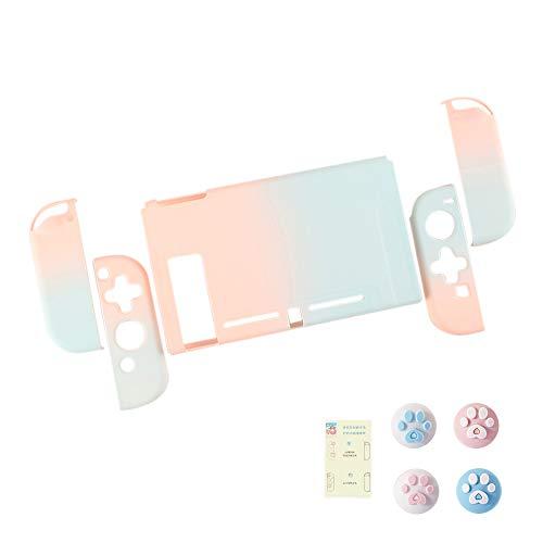 スイッチ ケース 分体式 Nintendo Switch カバー 薄型 Joy-Con用 親指キャップ ニンテンドースイッチ カバー 指紋防止 全面保護 ニンテンド ケース (色 : 青-ピンク, サイズ : セット)
