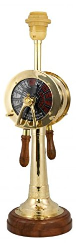 magicaldeco Exclusive- Maritime Stehlampe aus Holz, Messing- Telegrafenlampe