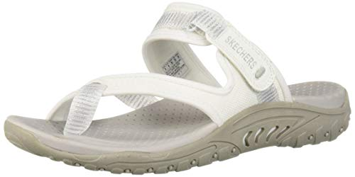 Skechers Women's Reggae-Seize The Day-Toe Thong Sandal Flip-Flop, White, 7.5 M US