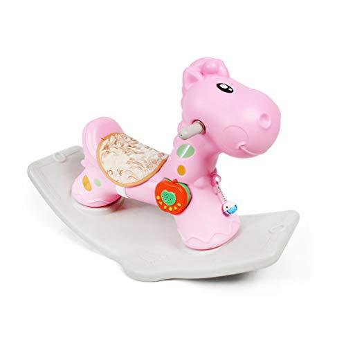 Trojan Cheval à Bascule pour Enfants Jouet Bébé Cheval à Bascule en Plastique Grand Épaissir bébé 1-2 Ans Voiture à Bascule Cadeau (Couleur : Rose)
