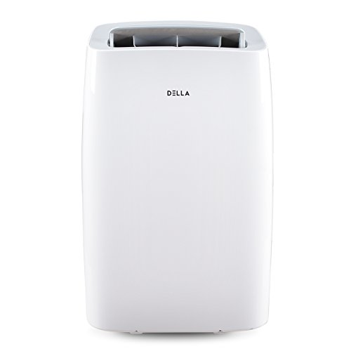 DELLA 14000 BTU Portable Air Conditioner 11000 BTU Home Heater Cool Fan 111 Pint Per 24Hr Dehumidifier for Rooms Up To 700 Sq. Ft. Self Evaporation LCD Remote Control Window Kit Wheels (Window Vent Kit For Lg Portable Air Conditioner)