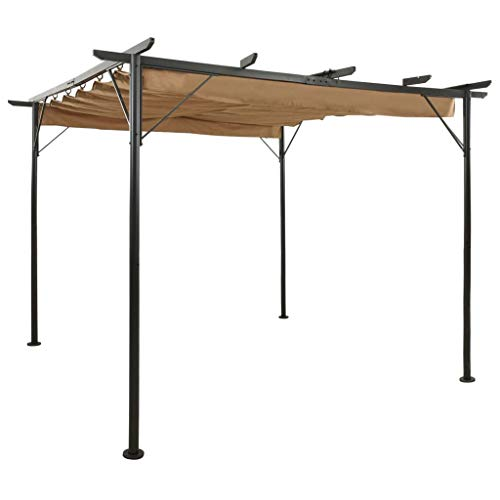 vidaXL Pergola mit Ausziehbarem Dach Pavillon Sonnenschutz Gartenpavillon Überdachung Terrasse Gartenzelt Taupe 3x3m Stahl 180g/m²