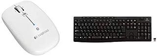 LOGICOOL Bluetoothマウス m557 ホワイト M557WH & フルサイズ 薄型 ワイヤレスキーボード テンキー付 耐水 静音設計 USB接続 3年間無償保証ボード Unifying対応レシーバー採用 K270