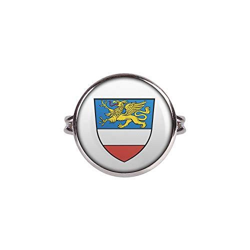 Mylery Ring mit Motiv Stadt-Wappen Flagge Rostock Silber 16mm