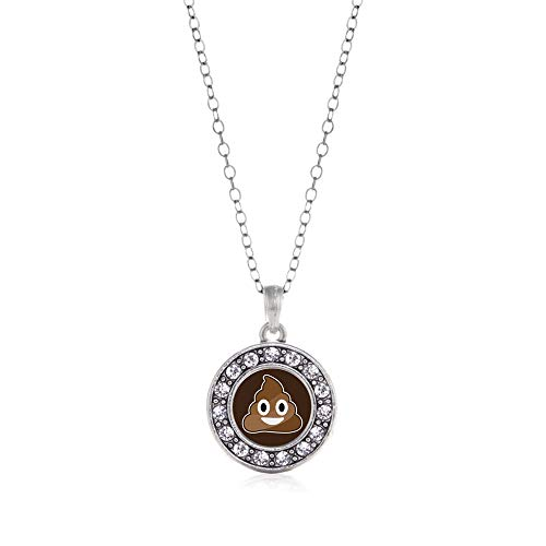 Inspired Silver - Poop Emoji Charm Necklace for Women - Silver Circle Charm 18 Inch Necklace with Cubic Zirconia Jewelry