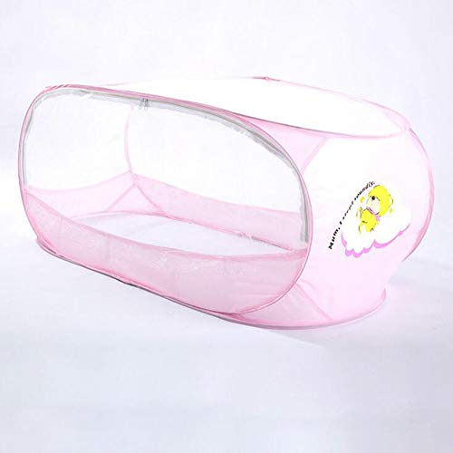 YONG Rosa Baby Moskitonetz Quadrat Zelt mit Zweiwege-Reißverschluss, Tragbare Falten Baby Reisebett Indoor Outdoor Reise Krippe Baby Moskito Reise Net Zelt für Kleinkinder (110 * 65 * 60cm)