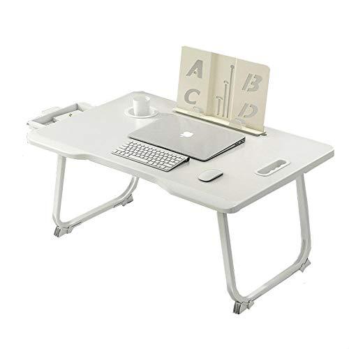 Jiyi Laptop-Klapptisch, tragbarer Schoßtisch, Laptop-Bett Studiertisch, Leseständer mit Schublade Cup Slot, zum Lernen, Ansehen von Filmen Elfenbein