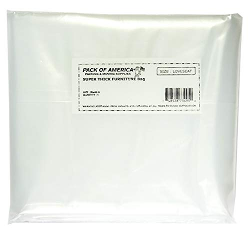 Pack of America Loveseat Couch Cover Bag for Moving and Storage | Protective Plastic Shield Bag for Dust and Damage Protection | Heavy Duty 68' x 42' Thick 5 Mil Loveseat