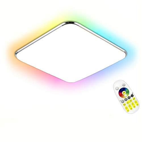 LZQ Lámpara de techo LED con mando a distancia y luz plateada, para dormitorio, pasillo, salón, pared, baño, cocina, panel de lámpara (36 W RGB)