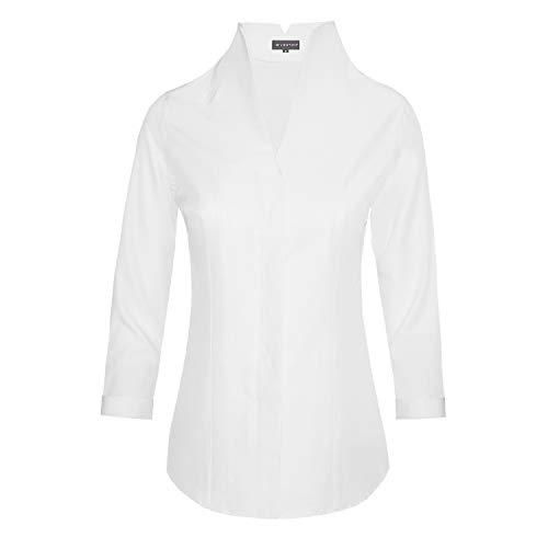 HEVENTON Damen Hemdbluse mit Kelchkragen leicht tailliert bügelleicht Bluse mit Stehkragen elegant festlich auch für Business 3/4 Arm 1205 Farbe Weiß, Größe 42