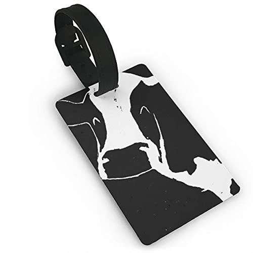 Etiquetas de Equipaje Resumen Blanco y Negro Vaca de Leche Etiqueta de Nombre de PVC Identificación de Maleta de Viaje Etiquetas de identificación Etiqueta de Equipaje Duradera