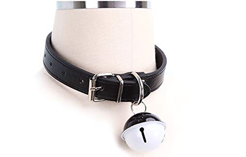 SUPER Q Leather Choker Bell Collar Lolita Necklace Kitty Bell Cat Cosplay Pendant Necklace Black