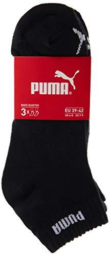 PUMA Quarter Socken 3er Pack Quarter, Unisex, Schwarz, UK 12-14