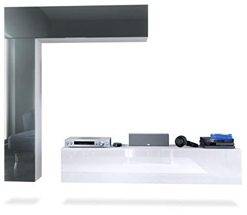 Mueble de Pared Taurito, Cuerpo en Blanco Mate/frentes en Blanco de Alto Brillo y Gris de Alto Brillo
