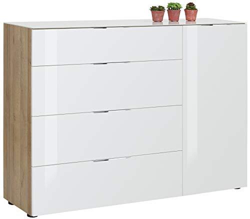 bmg-moebel.de Kommode Maja Möbel Trend 7814 Riviera Eiche - Weißglas Abmessung: 135,3 x 98,7 x 40 cm
