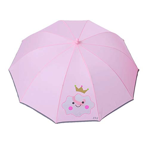 Belleashy Paraguas Infantil Perspectiva Lluvia de Dibujos Animados y protección UV Manual Abra el Mango Largo Paraguas de los niños Rectos para Boy Girl (31.5 Pulgadas Abierto) Fácil
