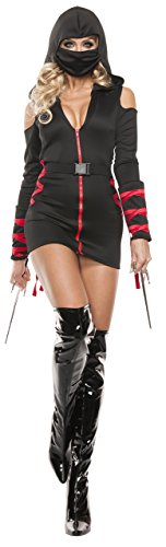 Starline Women's Sexy Strapped Up Ninja Costume Set - Black - Larg