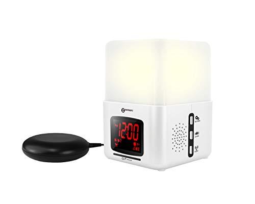 Geemarc Wake'n Shake Light - Laut Einstellbarer Lichtwecker mit Vibrationskissen, künstlichem Sonnenaufgang, automatisches Abschalten, Naturklängen, Radio, Mp3