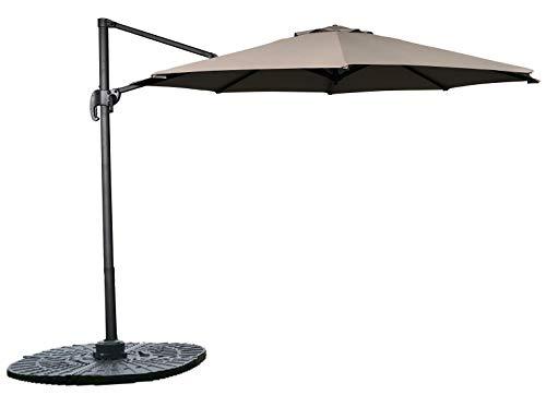 Homra Sonnenschirm Set Ø300 cm – 360 Grad drehbar + Kippbarr - Inkl. Standkreuz + Schutzhülle – Gartenschirm achteckig für Garten (Taupe)