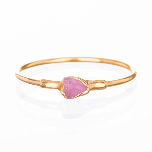 Raw Ruby Ring, Yellow Gold, Size 5, July Birthstone, Dainty Boho Style Jewelry